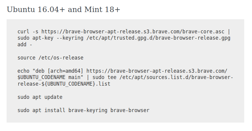 [SOLVED] Trouble installing Brave Browser on Ubuntu 18.04 LTS