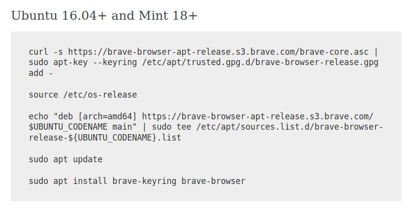 [SOLVED] Trouble installing Brave Browser on Ubuntu 18.04 LTS