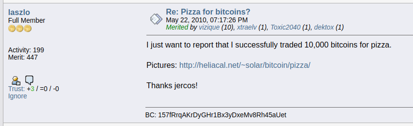 ELI5 : Bitcoin Pizza
